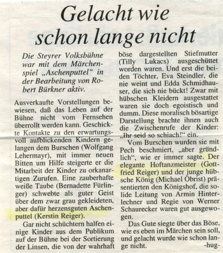 Aschenputtel_1992_Zeitung